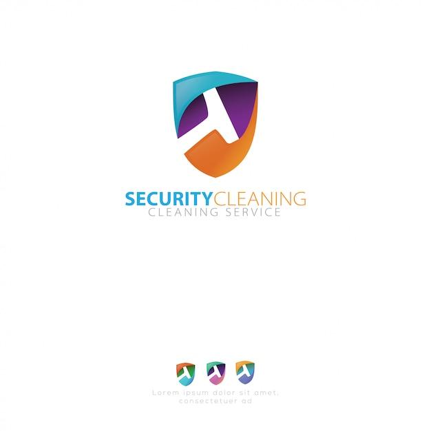 Logo du service de nettoyage Vecteur Premium
