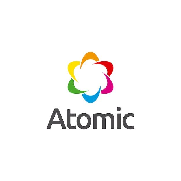 Logo du symbole atomique Vecteur Premium