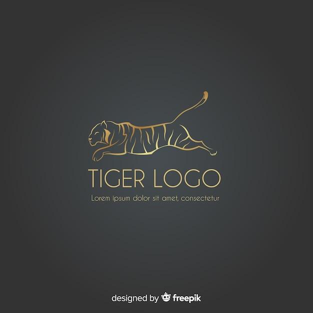 Logo du tigre doré Vecteur gratuit