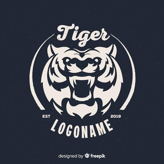 Logo du tigre féroce Vecteur gratuit