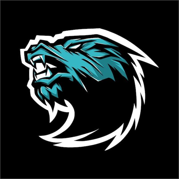 Logo e sport dragon bleu Vecteur Premium