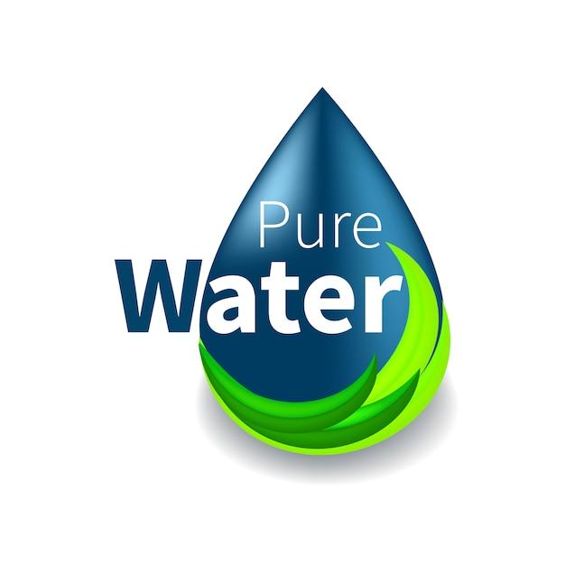 Logo De L'eau Pure. Symbole De Goutte Bleue Et Ligne Verte écologique. Signe, Icône, Pictogramme. Vecteur Premium