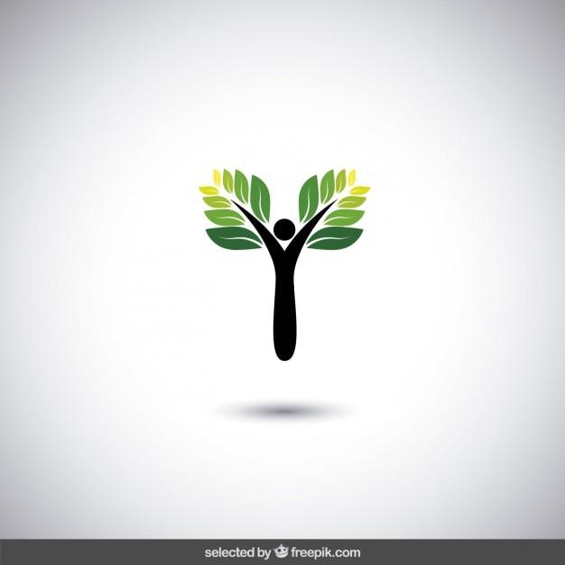 Logo Eco Avec Arbre Abstrait Vecteur gratuit