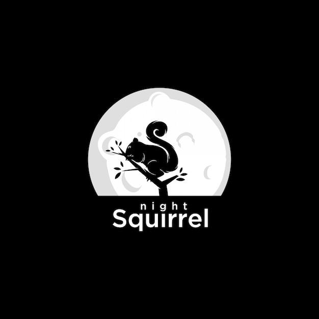 Logo écureuil de nuit Vecteur Premium