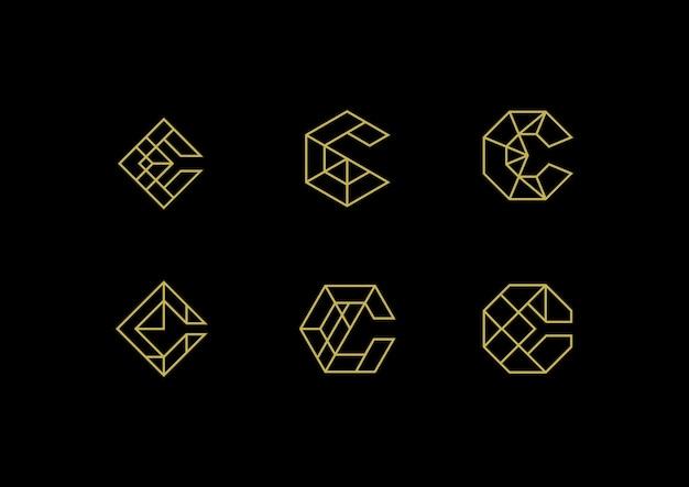 Logo élégant de la lettre c de luxe Vecteur Premium