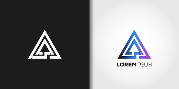 Logo élégant Triangle Géométrique Vecteur Premium