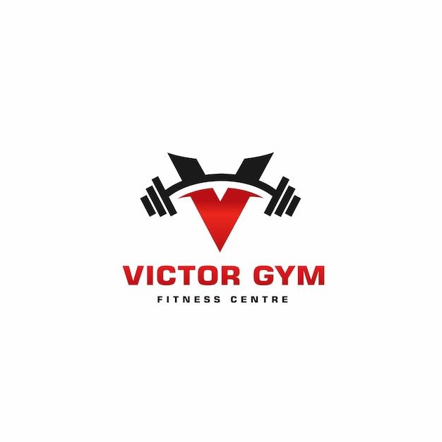 Logo élégant v gym, modèle de conception de logo de remise en forme Vecteur Premium