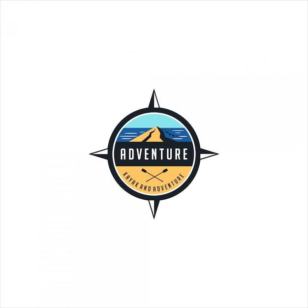 Logo emblème aventure et kayak Vecteur Premium