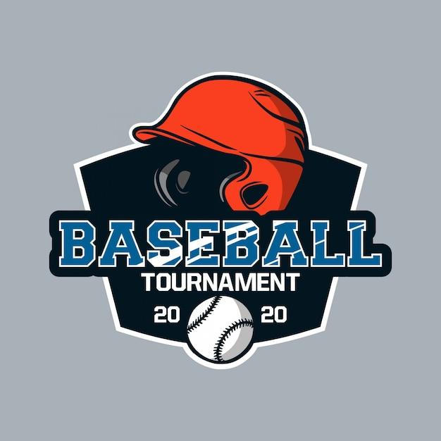 Logo emblème de baseball modèle emblème tournoi de baseball 2020 Vecteur Premium