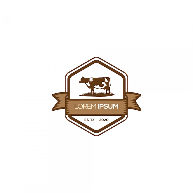 Logo Emblème De La Ferme De Vache Vecteur Premium