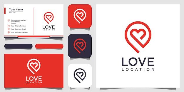 Logo D'emplacement D'amour Créatif Avec Marqueur De Coeur Et De Carte. Modèle De Conception De Vecteur Et Conception De Carte De Visite Vecteur Premium