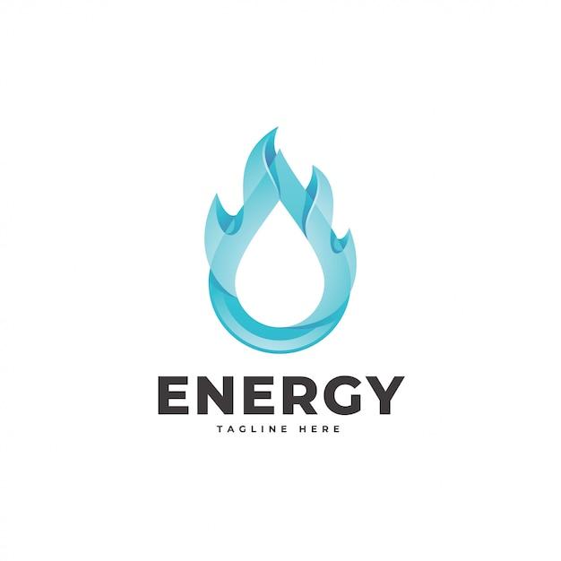 Logo d'énergie de gouttelettes d'eau et de flammes de feu 3d Vecteur Premium