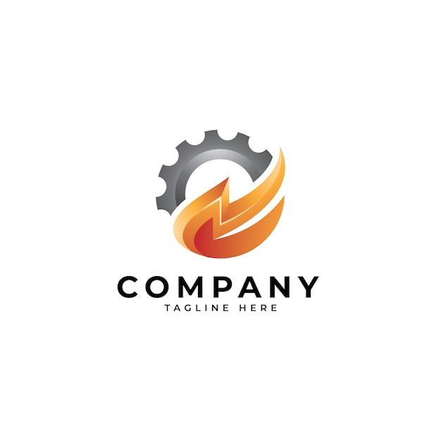 Logo énergie machine, tonnerre et icône engrenage Vecteur Premium