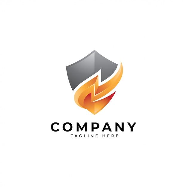 Logo énergie sécurisée, icône thunder et shield Vecteur Premium