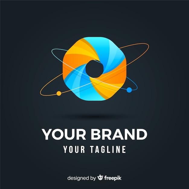 Logo d'entreprise abstrait arrondi dégradé Vecteur gratuit