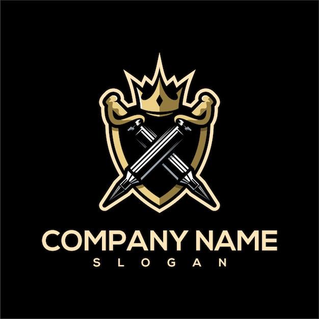 Logo de l'épée de balle Vecteur Premium