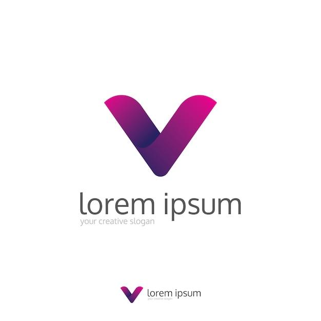 Logo épuré moderne lettre v Vecteur Premium