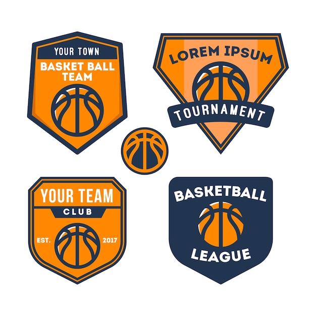 Logo de l'équipe de basketball et badge Vecteur Premium