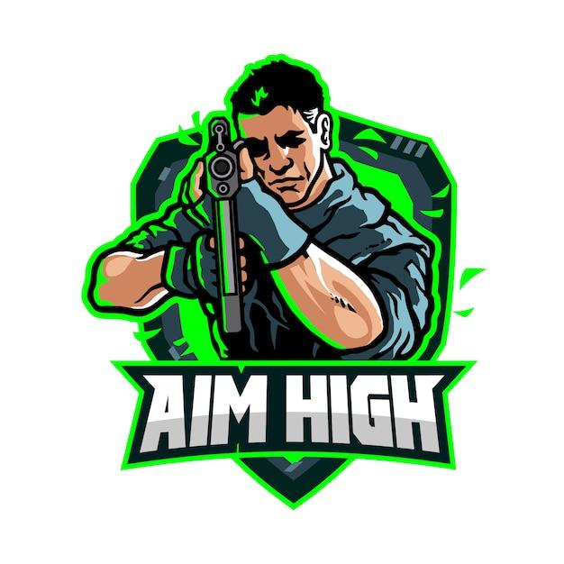 Logo de l'équipe de jeu aim high esport Vecteur Premium