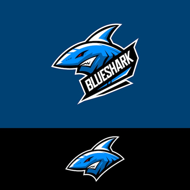 Logo de l'équipe de sport électronique avec requin Vecteur Premium