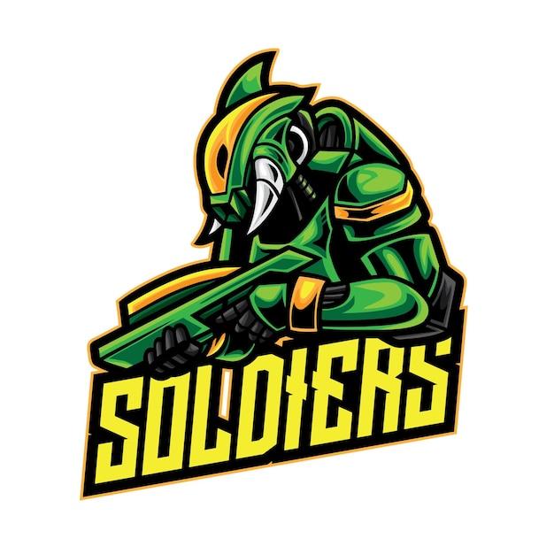 Logo Esport Guerrier Alien Soldat Vecteur Premium