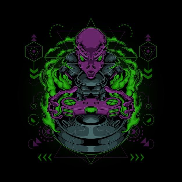 Logo Esport Mascotte Extraterrestre Vecteur Premium