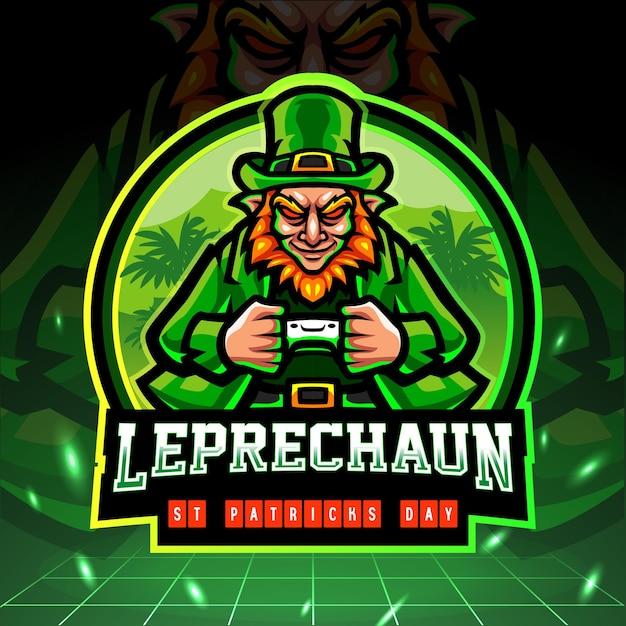 Logo D'esport De Mascotte De Lutin De Jour De St Patrick. Vecteur Premium