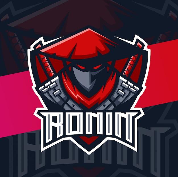 Logo Esport De La Mascotte Des Samouraïs Ronin Vecteur Premium
