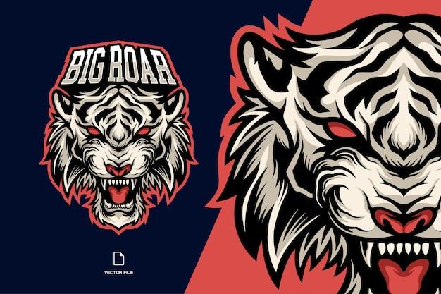 Logo Esport Mascotte Tigre Blanc Tête En Colère Vecteur Premium