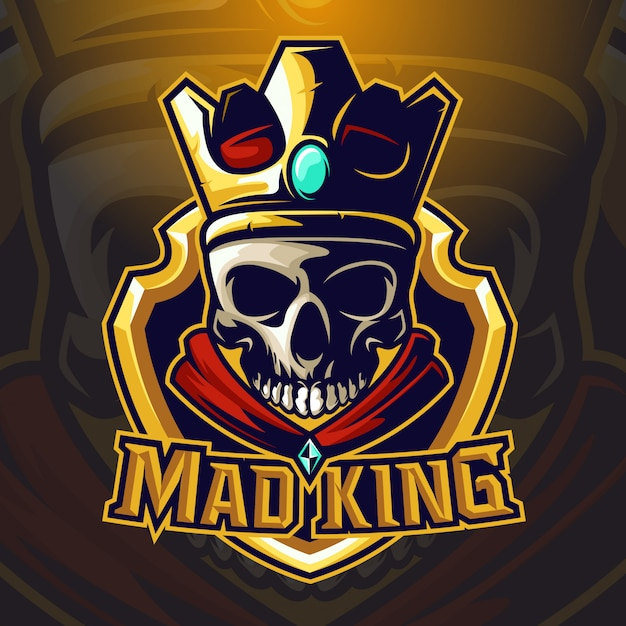Logo esport roi roi crâne Vecteur Premium