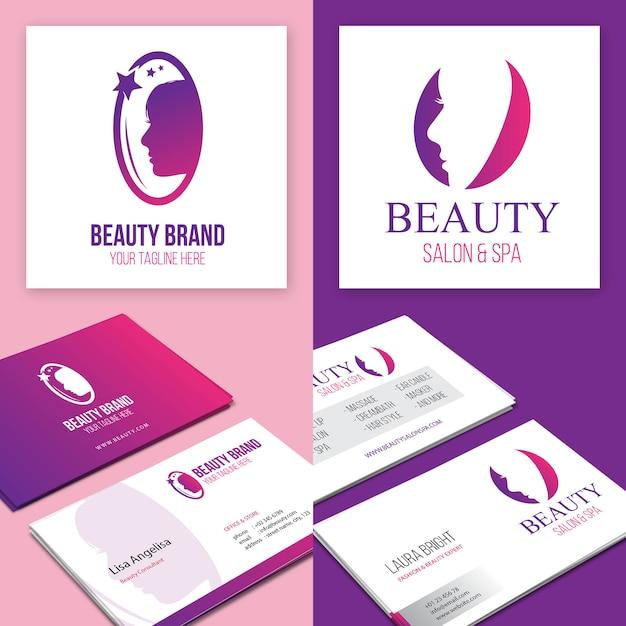 Logo Et Carte De Visite Marque Beaut Vecteur Premium
