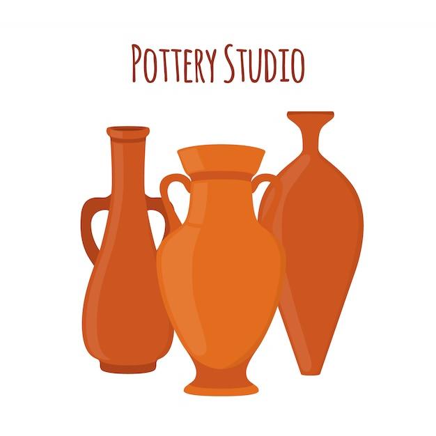 Logo de l'étiquette du studio de poterie Vecteur Premium