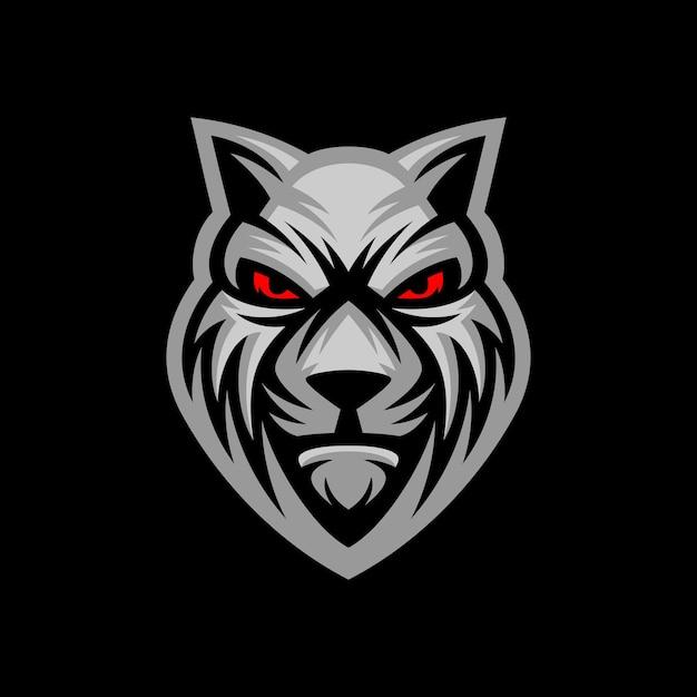 Logo, étiquette, Icône, Illustration D'une Tête De Loup Avec Fond Sombre. Vecteur Premium