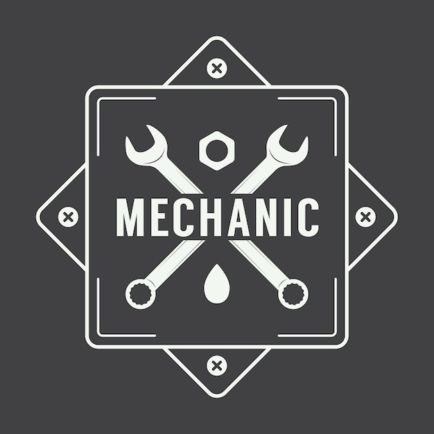 Logo étiquette mécanicien Vecteur Premium
