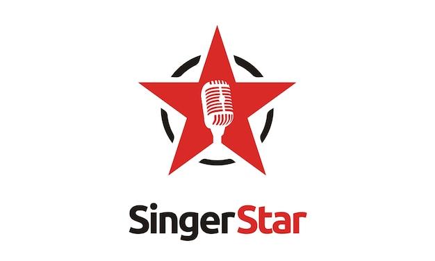 Logo étoile de microphone de chanteur / audition Vecteur Premium