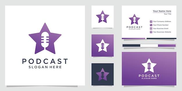 Logo étoile De Podcast Avec Modèle De Carte De Visite. Prime Vecteur Premium