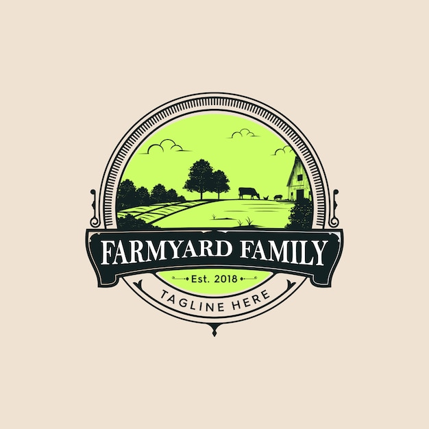 Logo De La Famille De La Ferme Vecteur Premium