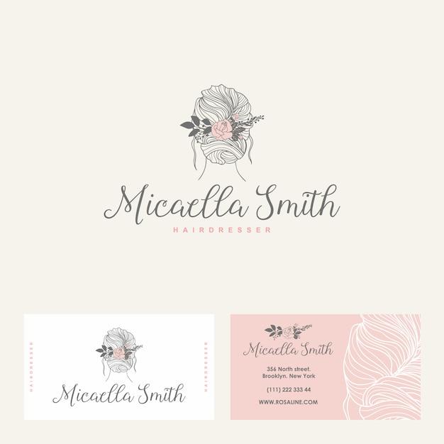 Logo féminin, carte de visite pour salon de beauté, salon de coiffure Vecteur Premium