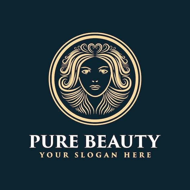 Logo Féminin Dessiné à La Main Avec Le Visage Et Les Cheveux Adapté à La Société De Coiffure Et De Beauté De Peau De Salon De Spa Vecteur Premium