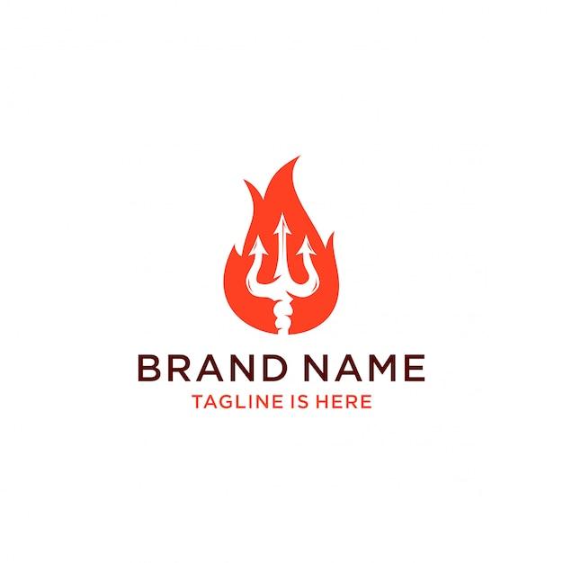 Logo de feu trident Vecteur Premium