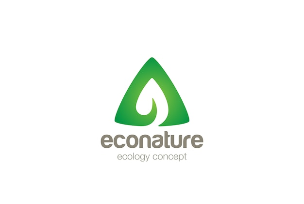 Logo De Feuille Verte écologique. Style D'espace Négatif. Vecteur gratuit