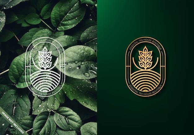 Logo feuilles de thé Vecteur Premium