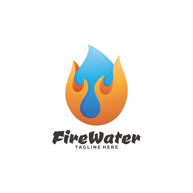 Logo Fire Flame And Water Droplet Vecteur Premium