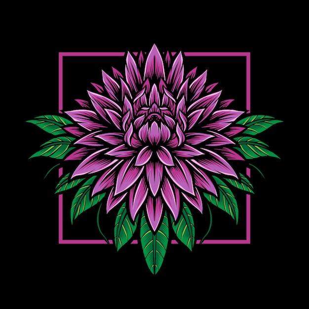 Logo De Fleur De Dahlia Violet Vecteur Premium