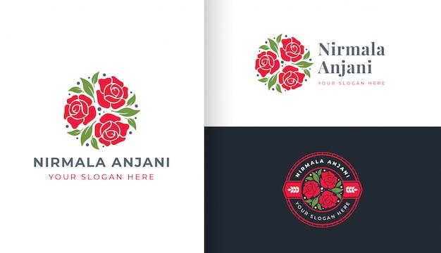 Logo De Fleur Rose Avec Modèle D'insigne De Cercle Vecteur Premium