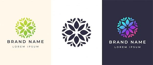 Logo de fleurs abstraites Vecteur Premium