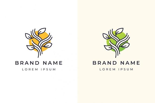 Logo floral abstrait Vecteur Premium