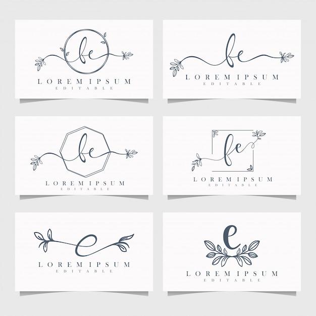 Logo floral féminin éditable Vecteur Premium