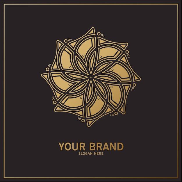 Logo Floral De Luxe Avec Ornement Vecteur Premium