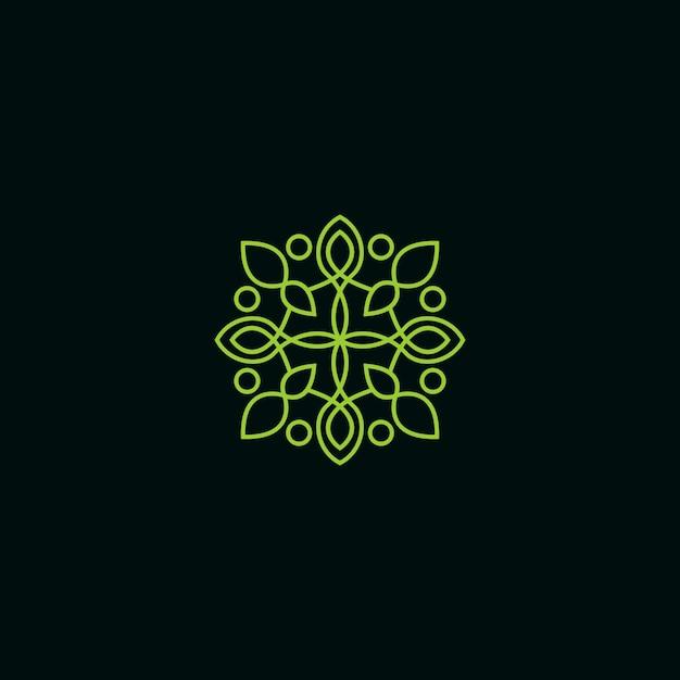 Logo floral monoline Vecteur Premium